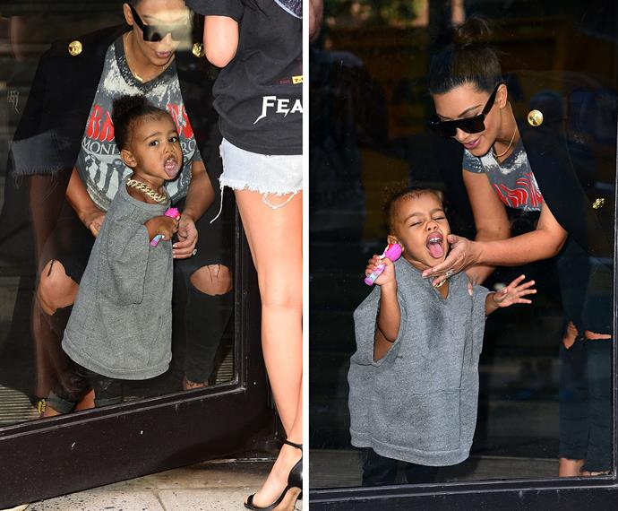 If anybody knows how to handle the spotlight, it's North West. She's the go-to-gal for tips on how to charm the adoring fans, so you're in good hands baby West.