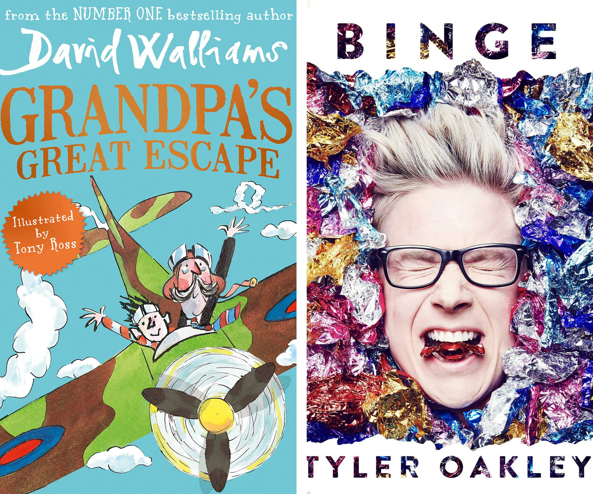 Your teen will love you if you get them David Walliam's hilarious new novel, *Grandpa's Great Escape*. Or for your celeb-obsessed relative, pick up a copy of Vlogger Tyler Oakley's *Binge*.