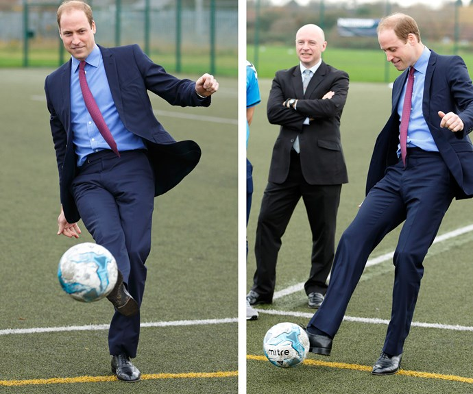 Move over Beckham! Can you bend it like Prince William!? The royal dropped by The Football for Peace, an initiative aimed at bring diverse groups together at Saltley Academy in Birmingham on Monday.