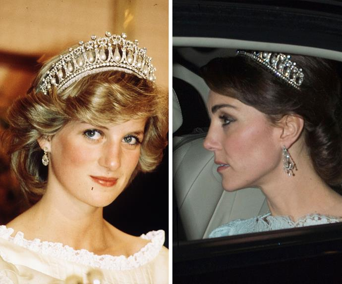 Catherine opted to wear one of Princess Diana's favourite headpieces, the [diamond and pearl Cambridge Lover's Knot tiara.](http://www.womansday.com.au/royals/royal-style/the-british-royal-familys-jewellery-collection-14057)
