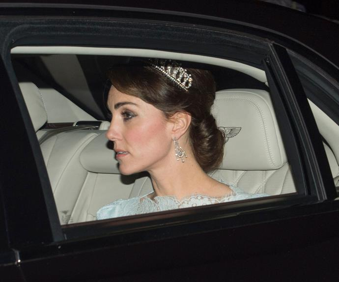 Catherine arrived with Prince William at the event in a dazzling a chauffeur driven Bentley.