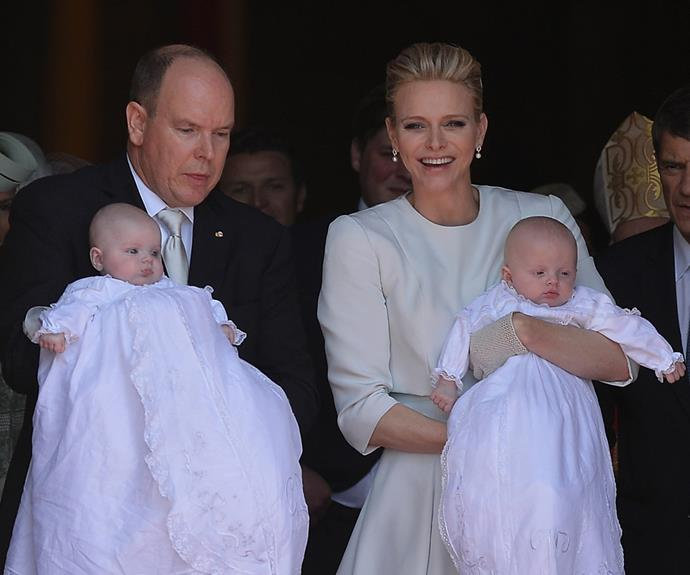 The couple couldn't hide their pride during the baptism, which was held at Cathedral de Monaco.