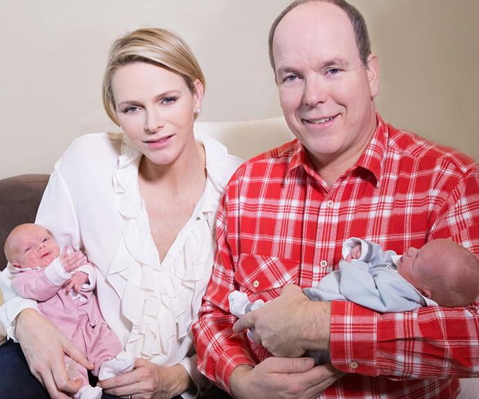 "First family photo! Princess Charlene and Prince Albert II of Monaco cradle their twins Princess Gabriella and Prince Jacques at the Grace Hospital Center, [which is named after their late grandmother,](http://www.womansday.com.au/royals/royal-style/princess-charlene-looks-breathtaking-at-monaco-gala-13586|target=""_blank""