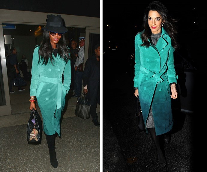 Repeat offenders! This two-tone Burberry coat, that costs about four grand, is stunning and we think both Amal Clooney and Naomi Campbell pull it off with ease.