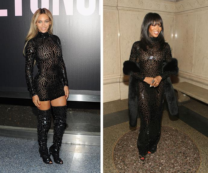 While Beyoncé looked gorge in a shorter version of this Tom Ford second-skin gown, Naomi Campbell turned heads in her floor length style.