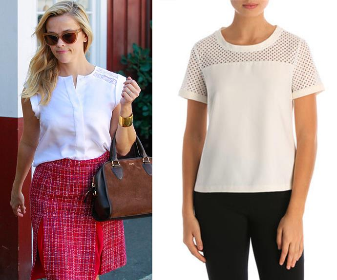 [Reese Witherspoon](http://www.womansday.com.au/entertainment/movies/reese-witherspoon-is-working-on-a-barbie-film-14244) never gets it wrong and with a stylish staple like a fitted white top, you won't either! [Stella @ Work, which is stocked at Myer,](http://www.myer.com.au/shop/mystore/S15-mid-season-sale-clearance-women/mandy-top-303555610) do a gorgeous one with open lattice lace on the sleeves.