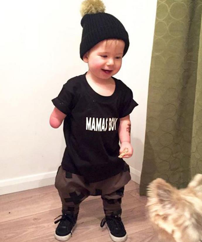 In demand! The fashionable tot has been inundated with labels wanting to dress him. [Images via @myoakleydoakley]