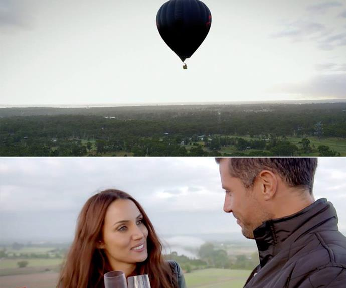 "Back to where it all began! ""From our very first date in that hot-air balloon I knew how special Snez was, and I wanted to spend as much time with her as possible,"" Sam explained. *(Image: Network Ten.)*"