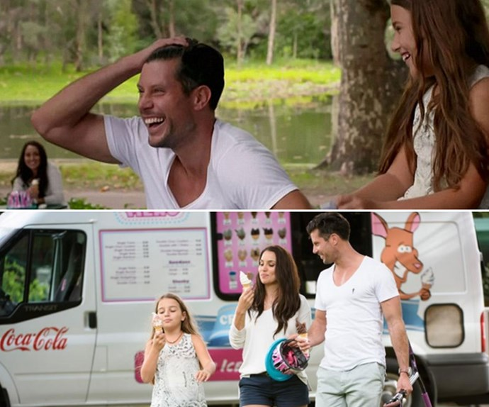 """On home town visits, Snezana introduced Sam to her daughter Eve. And Sam admitted, """"It's not Snezana and I, it's Snezana, Eve and I."""" *(Image: Network Ten.)*"""