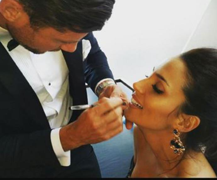 "Smitten from the start! Sam shared this sweet snap, which proved he had fallen head-over-heels for Snezana way before the finale. ""Just found this photo that one of the crew sent me. A little throw back to our date at The Opera House when Snez needed a touch up."" *(Image: @samjameswood Instagram)*"