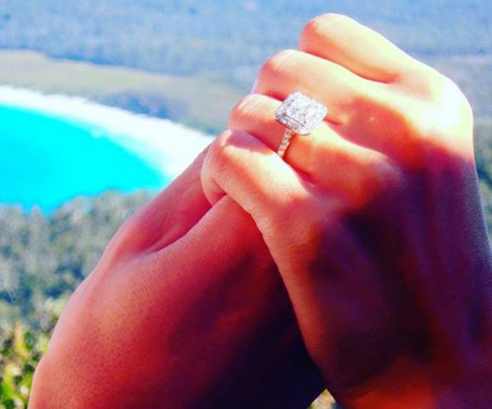 "Six months after meeting on the show, they made it official with the most incredible rock and the sweetest words, ""She said YES! When you know, you know. I love you Snezana."""