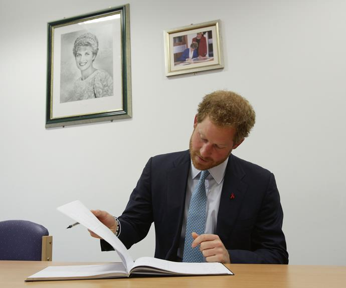 "Just like his mum, Prince Harry signed the visitors book after a conversation he had with a 26-year-old woman born with HIV who told him that she used to be comforted by Princess Di when she was a little girl. ""I remember how your mother's lap was comfortable and I cuddled into her,"" she recalled, to which he responded, ""I remember that too."""