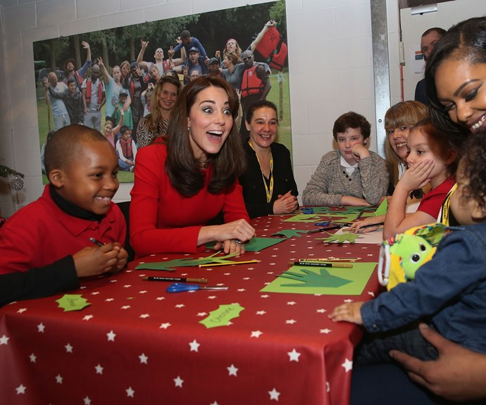 As well as playing the bongos, the future Queen mingled with the kids at the bash while dressed in a stunning (and recycled) Alexander McQueen dress.