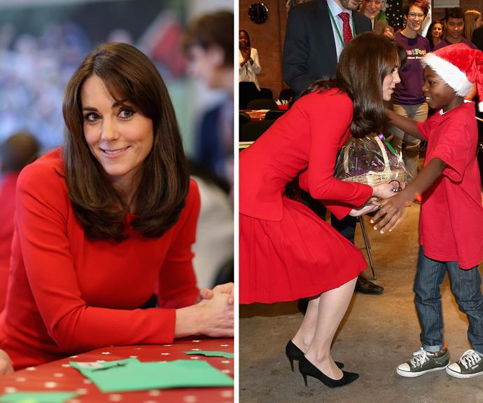 Duchess Catherine paid a visit to the Anna Freud Centre's Christmas bash in Islington, North London where she was met with scores of adoring children.