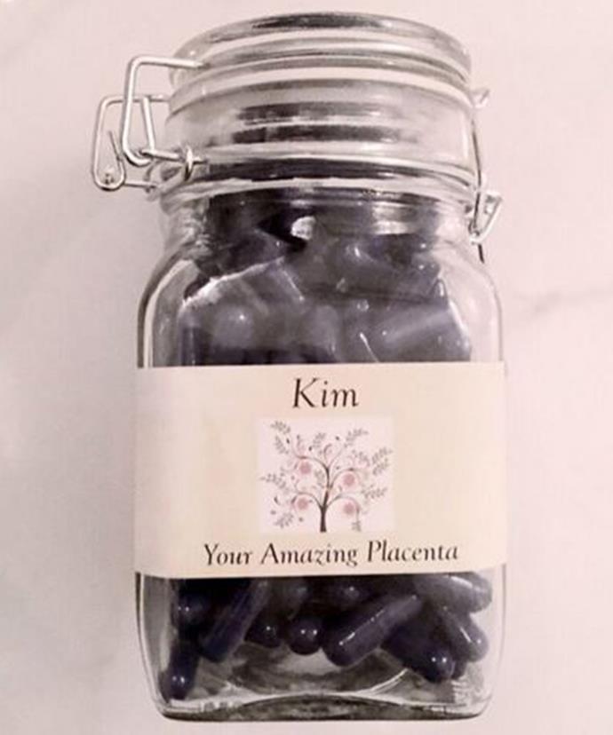 """Kim's """"Amazing"""" placenta capsules."""