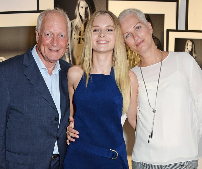 Her proud parents Peter and Inger attend the Calvin Klein Jeans x Mytheresa.com party in London to support their daughter, who starred in the campaign.