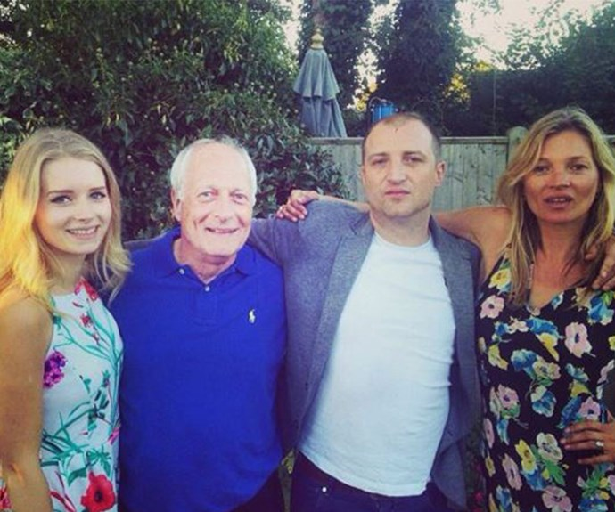 """Family snap! (L) Lottie with her father Peter, half-brother Nick and half-sister Kate. Lottie simply captioned this shot """"#toocoolforyou."""""""