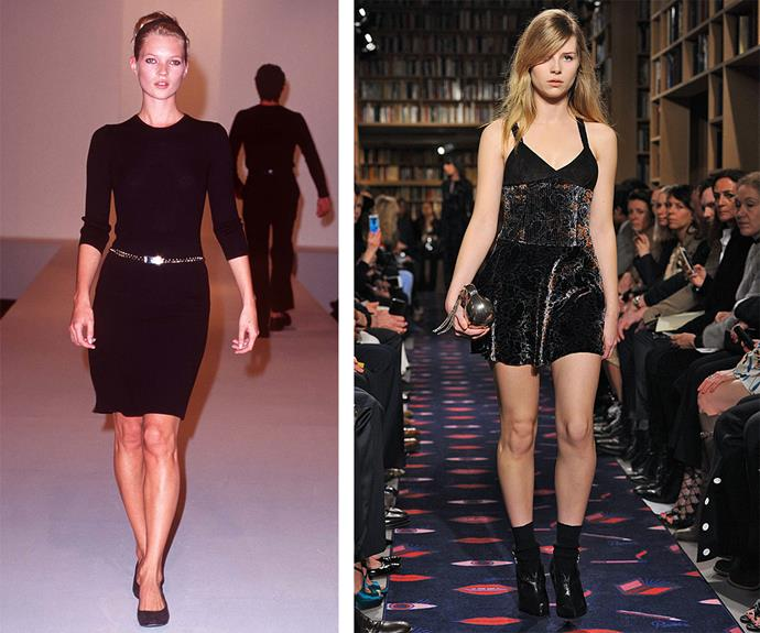 Following in fashionable footsteps! In March 2015, Lottie walked her first runway at Paris Fashion Week for Sonia Rykiel (R) and it was hard not to notice the resemblance to her big sister, pictured at the Calvin Klein show in 1995 (L).