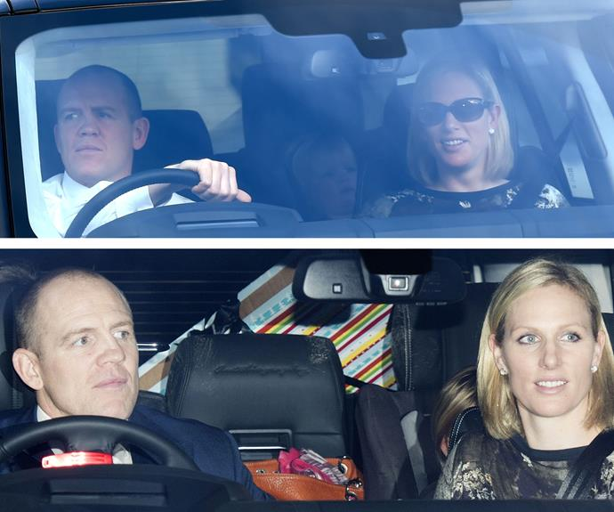 Mia Tindall arrived with mum Zara and dad Mike. And it looks like she was on the nice list, with a bundle of presents snapped in the back of the car.