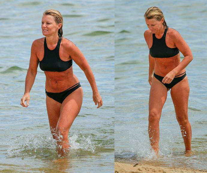 The mum-of-three stripped down to a two piece black bikini as she took a dip. Simone loves to keep fit, regularly taking to social media to share pictures of herself exercising and practicing yoga