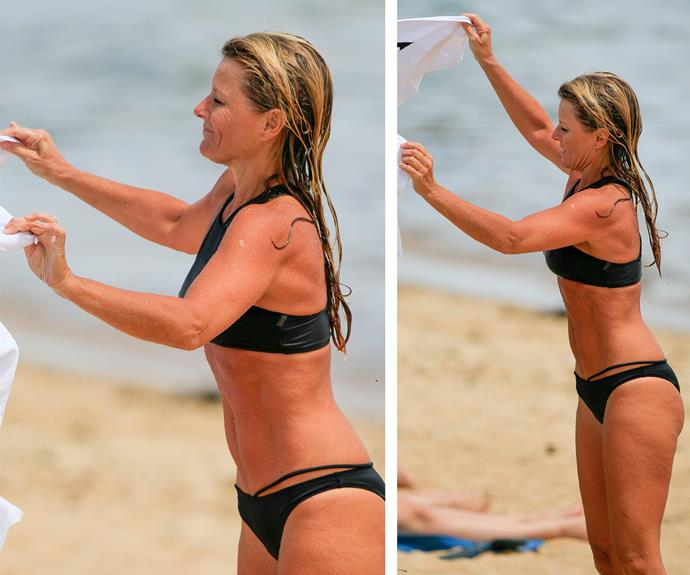 The blonde 45-year-old, who split with her cricketer ex Shane Warne back in 2005, looked phenomenal as she called it a day.