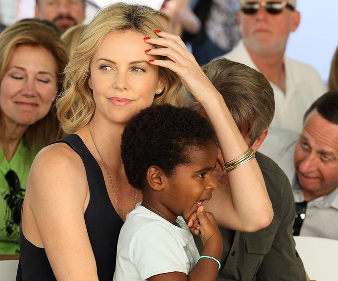 Surprise! Fresh from her split with Sean Penn, [Charlize Theron shocked everyone by quietly adopting a baby girl called August.](http://www.womansday.com.au/celebrity/hollywood-stars/charlize-theron-adopts-a-daughter-13266) Her daughter joins the actress' four-year-old son Jackson, who she adopted from South Africa in 2012.