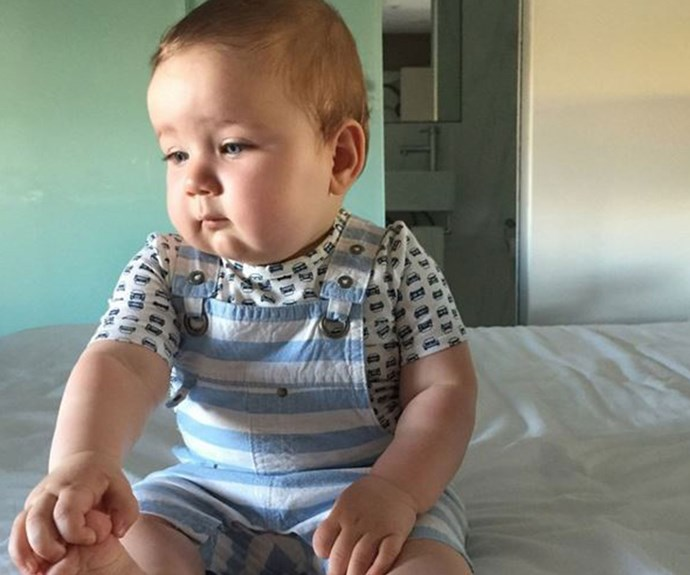 "**The time Sonny's facial expression was all of us after our favourite threads no longer fit** ""You'd be sad too if you were 10 months old and your brand new size 12-18 month overalls were already too tight."""