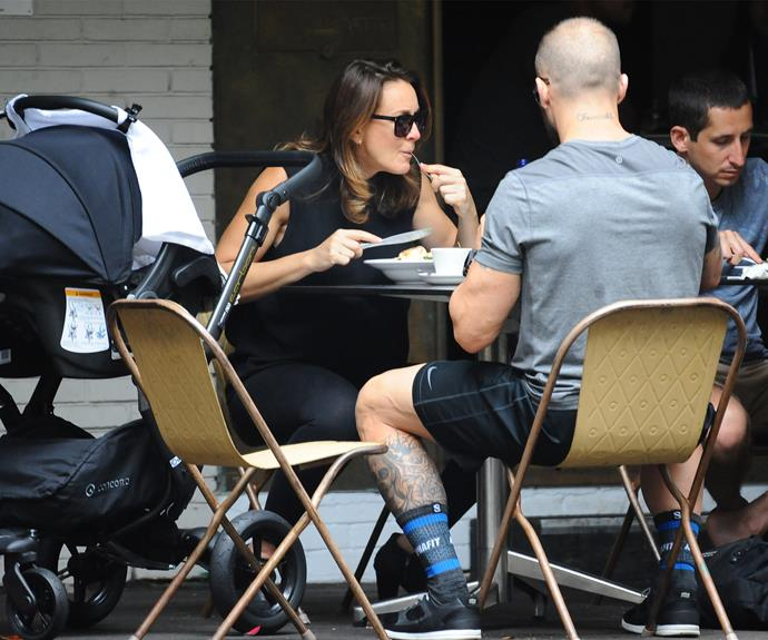 Steve and Michelle enjoyed a bite to eat as their little one slept in his stroller.