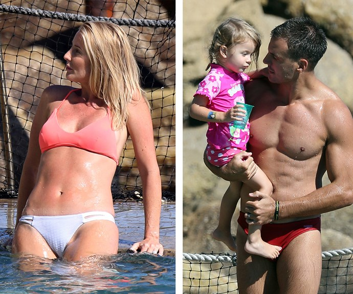 The family, including the couple's three-year-old daughter Remi, enjoyed a relaxing day at Sydney's Bronte baths recently.
