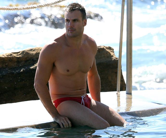 The 30-year-old showed off his buff body in a pair of bright red Speedos.