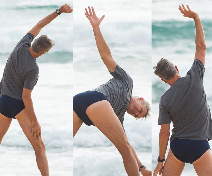 Cameron Daddo was a total yoga master at a Sydney beach.