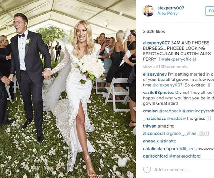 Designer Alex Perry shared this snap of the bride rocking his bespoke gown.