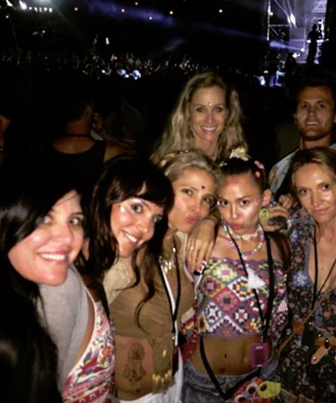 This time a year ago, Miley partied at Falls Festival with Elsa Pataky and pals.