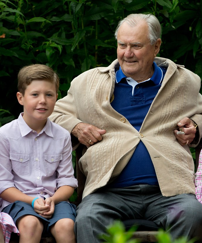 Prince Henrik with his grandson and third in line to the throne, Prince Christian.