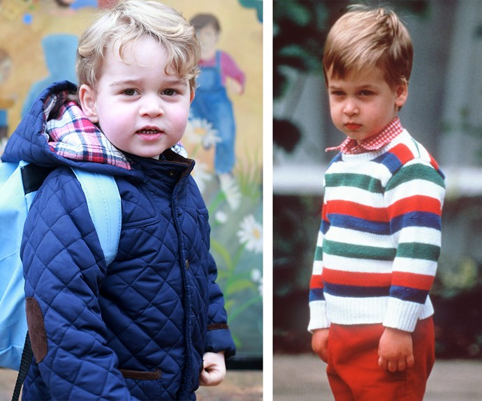 A tale of two princes: Two-year-old George appeared to be a bit more confident on his first day of kindergarten compared to when his dad, Prince William, started attending  Mrs Mynor's Nursery School in London back in 1985.