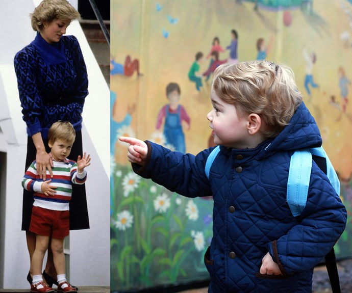 The heir to the throne, who was three at the time, kept close to mum Diana. Meanwhile George seemed very excited to be starting his big adventure.