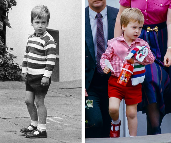 What a difference a few hours make! On the left, a timid William says goodbye to Princess Diana and Prince Charles. At the end of the day (R), the three-year-old had a spring in his step as he showed off a finger puppet he'd made.