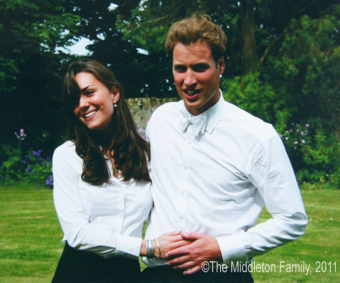 """**A prince and his girl:** This iconic photo of William and Catherine was taken on their graduation day at St Andrews University in 2005. """"I actually think I went bright red when I met you and sort of scuttled off, feeling very shy about meeting you,"""" Kate has reflected on their first encounter."""