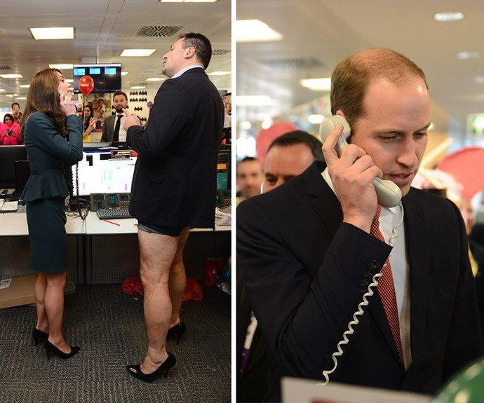 **Showing off her softer side:** But it's not all pomp and ceremony for this beloved royal. Who could forget this hilarious moment in December when William and Kate teased one another at a charity bash while a banker helped the Duchess in nothing more than his underwear, a blazer and a pair of heels.