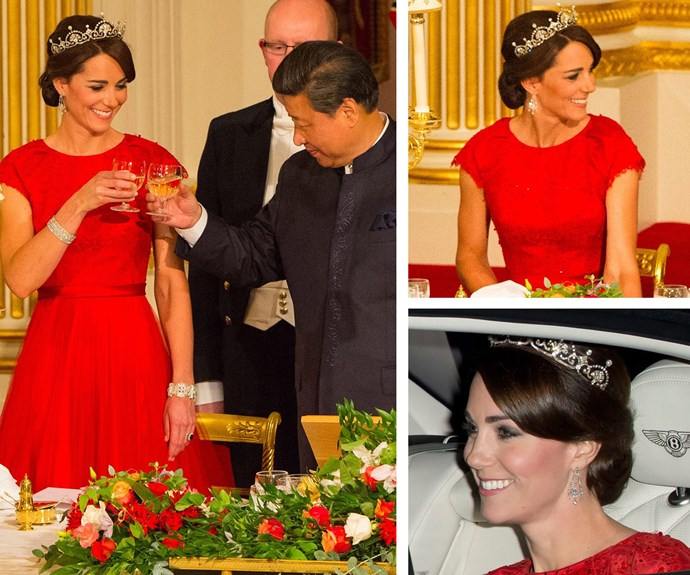 """**Lady in red:** The Duchess was a vision in this Jenny Packham gown and the [Royal's Lotus Flower tiara](https://www.nowtolove.com.au/royals/british-royal-family/duchess-catherine-best-tiara-moments-43452