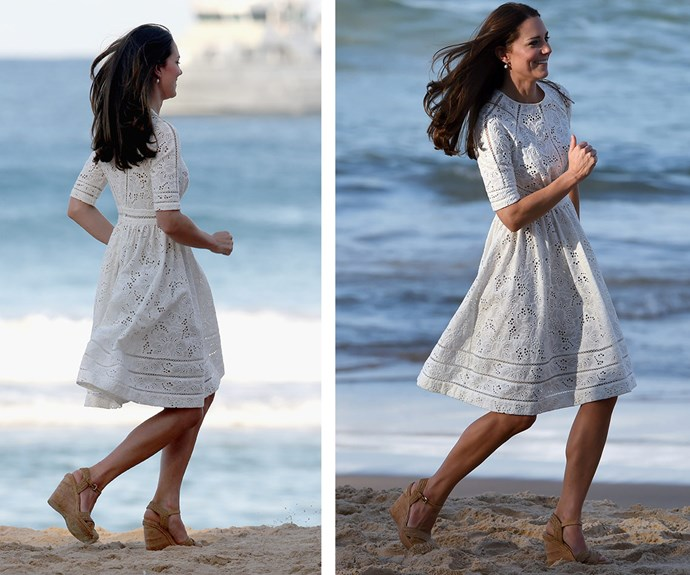 **Beach babe:** Kate had the nation transfixed when she managed to run across Sydney's Manly beach in a pair of wedges during the Cambridges' official tour of Australia and New Zealand in 2014.