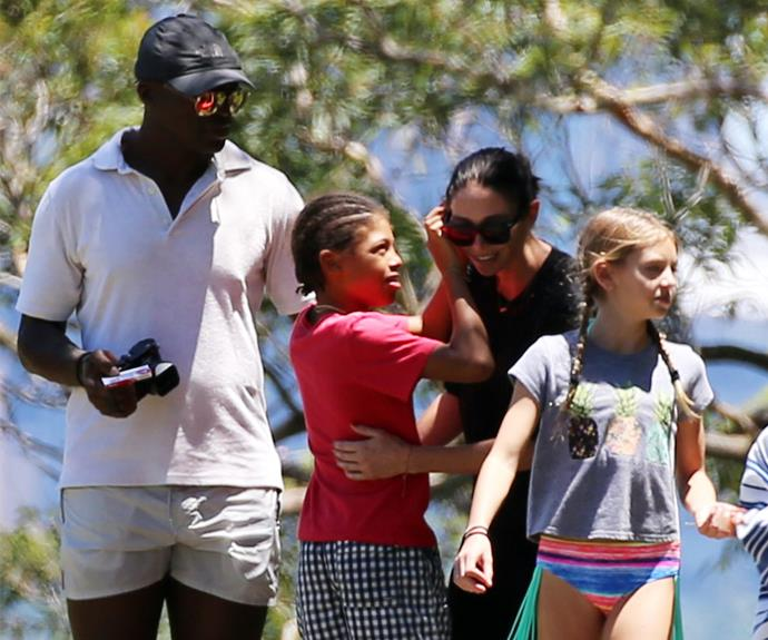 Aww, so cute! At one point, Seal's son Henry fixed Erica's hair.