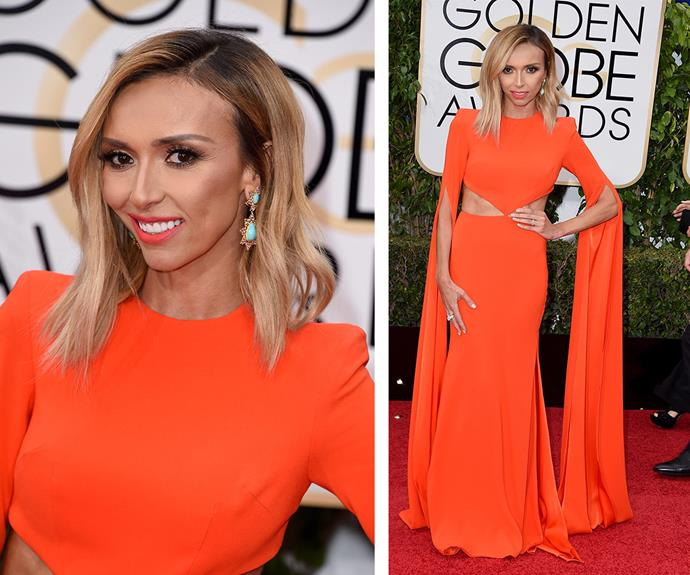 Tangerine dream: *E!* host Giuliana Rancic looked gorgeous in a bright orange gown.