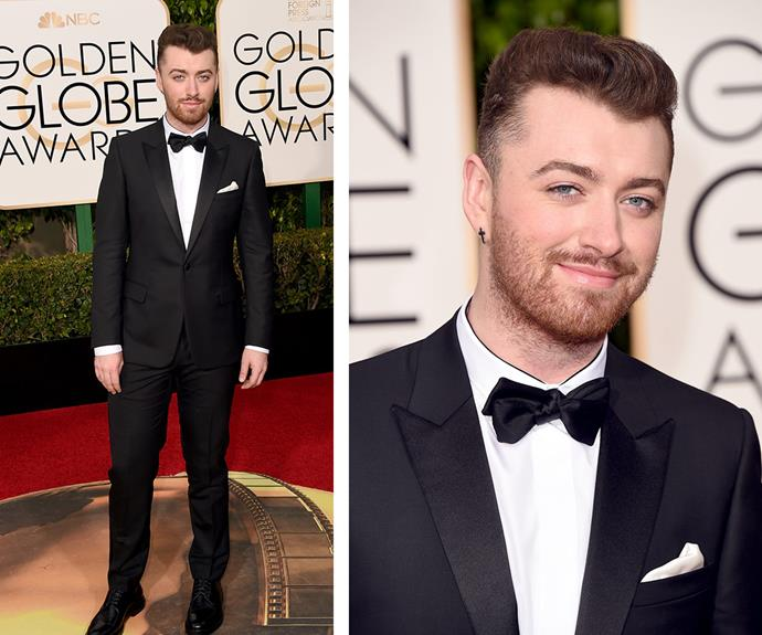 British singer Sam Smith rocked a dapper suit and bow-tie combo.