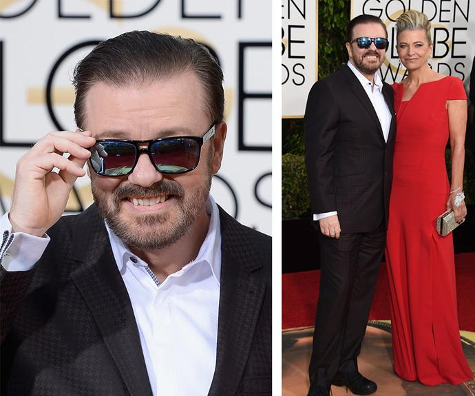 Ricky Gervais might be the host for the event but there wasn't a hint of nervousness as he walked the red carpet with wife Jane Fallon.