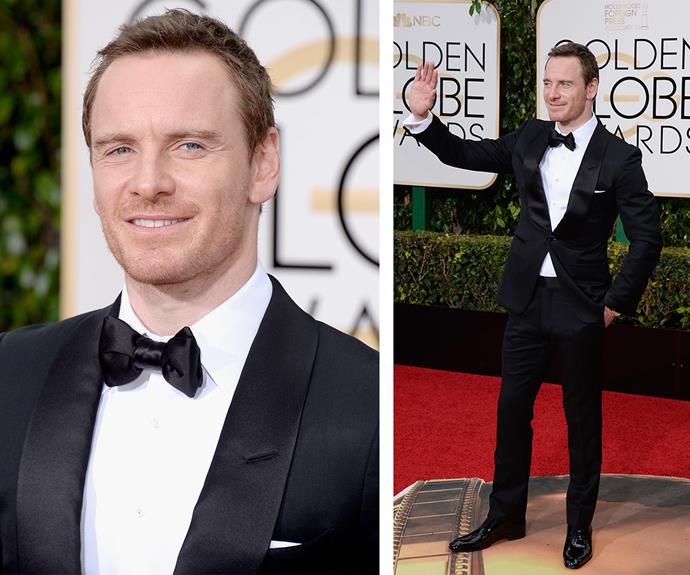 Best Actor in a Motion Picture Drama nominee Michael Fassbender cut a stylish figure.