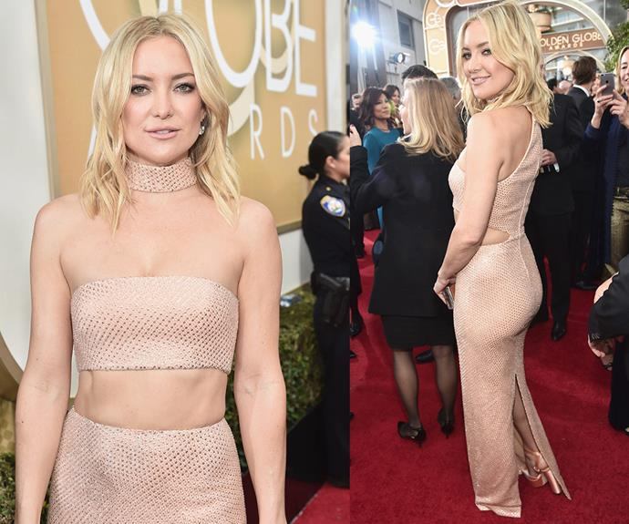 Dare to bare! Kate Hudson worked a beige sequinned dress which showed off her rock-solid abs.