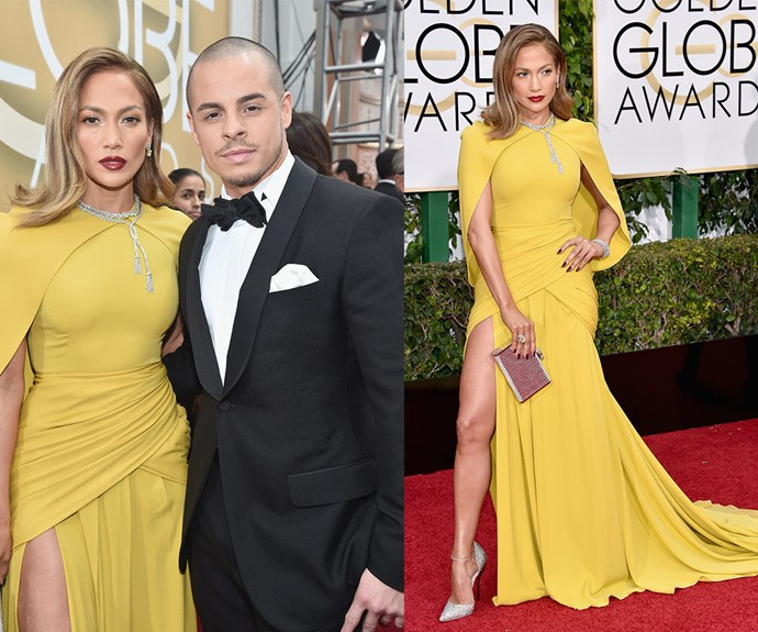 In 2016, JLo was still dating Casper Smart and doing her best impersonation of Angie's protruding leg.