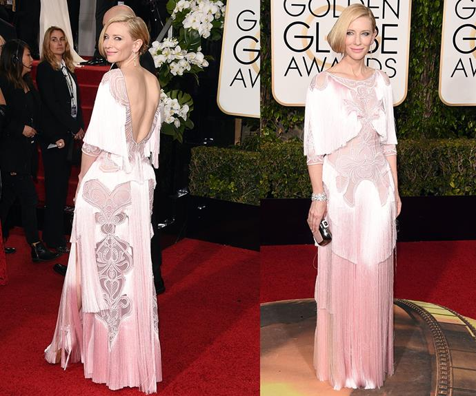 *Carol* star and Best Performance by an Actress nominee Cate Blanchett oozed sophistication in a blush pink gown.