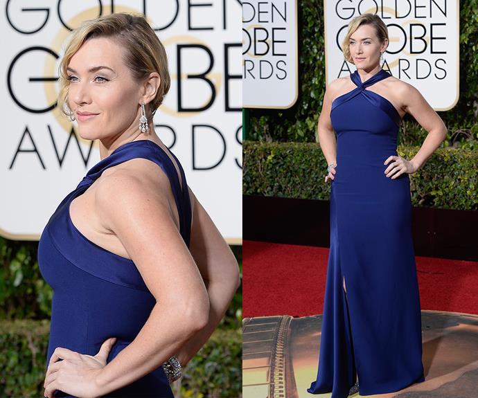 Beauty in blue! Her role in the *Steve Jobs* film has landed her a Globe for a Best Performance in a Supporting Role and Kate Winslet made sure all eyes were on her in this halterneck number.
